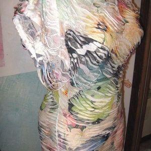 UMGEE White w/ Multi Print Destroyed Short Dress M